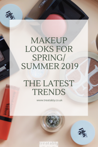 "Image of makeup products taken from above. A red lipstick and two posts of glitter are open to show the contents. The glitters are silver and gold. Written on top of the image is text "" Makeup looks for Spring/Summer 2019-The Latest Trends""."