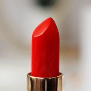 Lisa Eldridge Truly Velvet Lipstick Review. A Macro image of 'Velvet Morning' a stunning orange red matte lipstick with velvet texture.