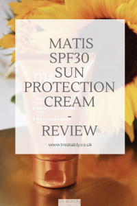 Matis SPF30 Sun protection care - Suncream review! Beautiful picture of the bronzed Matis SPF30 stood on a gold tray with a sunflower behind.