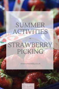 Looking for a fun activity to do with the family? Then check out this blog post! Image of fresh strawberries in a punnet with the blog title: summer activity - strawberry picking