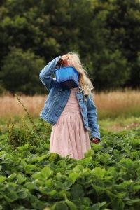 Summer activities - Picking strawberries in Northumberland! Family days out! Young girl holds strawberry basket in front of her face in the middle of a strawberry fields