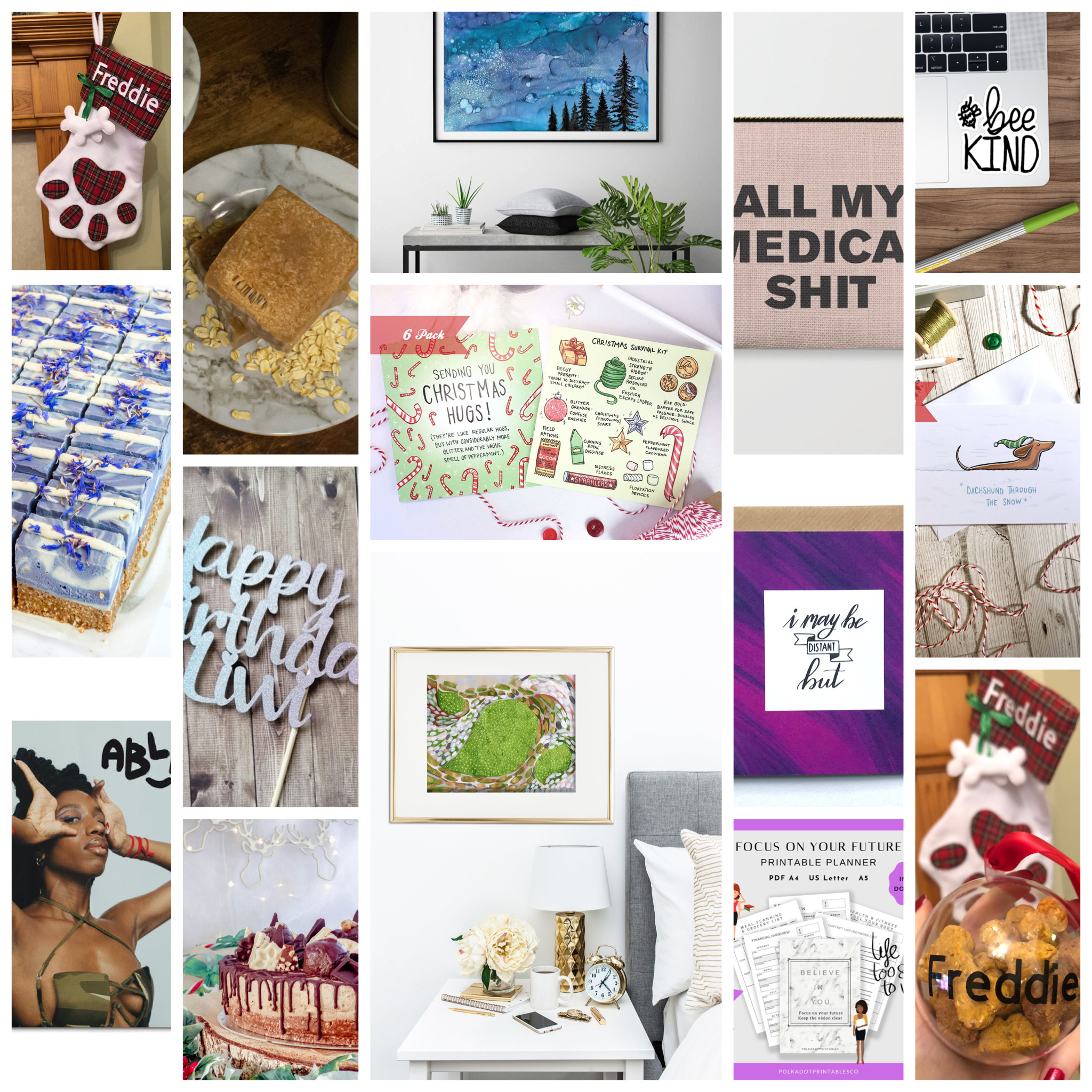 Christmas Gift Guide - Supporting shops run by spoonies, those with chronic illness. Image of a collage of multiple items shown in this blog post