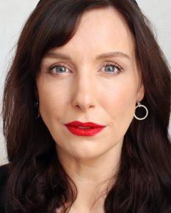 Lisa Eldridge lipstick in velvet ribbon on a white female with dark hair in her mid thirties.
