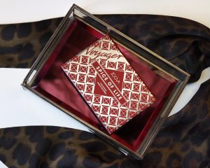 Zoeva Spice Of Life Eyeshadow Palette sits in a glass jewellery box with leopard print material behind it
