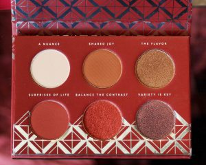 Zoeva Spice of Life Eyeshadow Palette. Image shows eyeshadow shades of golds and berries up close for this makeup review