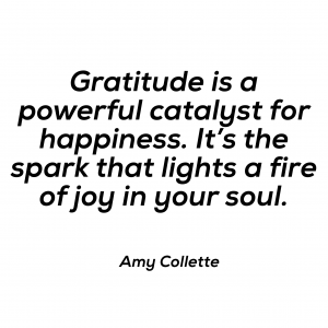 Gratitude is a powerful catalyst for happiness. It's the spark that lights a fire of joy in your soul.