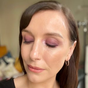 Purple, matte smokey eye makeup
