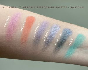 Swatches of the Huda Beauty Mercury Retrograde Eyeshadow Palette