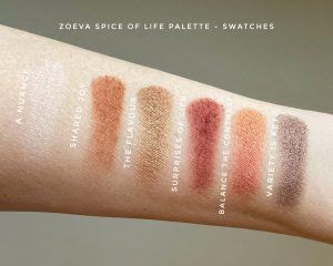 Swatches of the Zoeva Spice Of Life eyeshadow palette