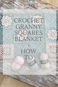 Granny squares crochet blanket! How I put together this tonal green, beige and mink blanket.