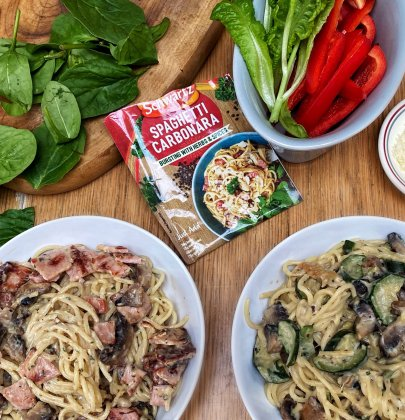 Quick & Simple Recipes With Schwartz – Traditional & Vegetarian Spaghetti Carbonara