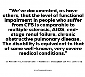 """""""We've documented, as have others, that the level of functional impairment in people who suffer from CFS is comparable to multiple sclerosis, AIDS, end-stage renal failure, chronic pulmonary disease."""""""
