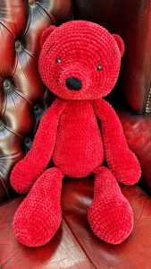 Crochet teddy bear in red