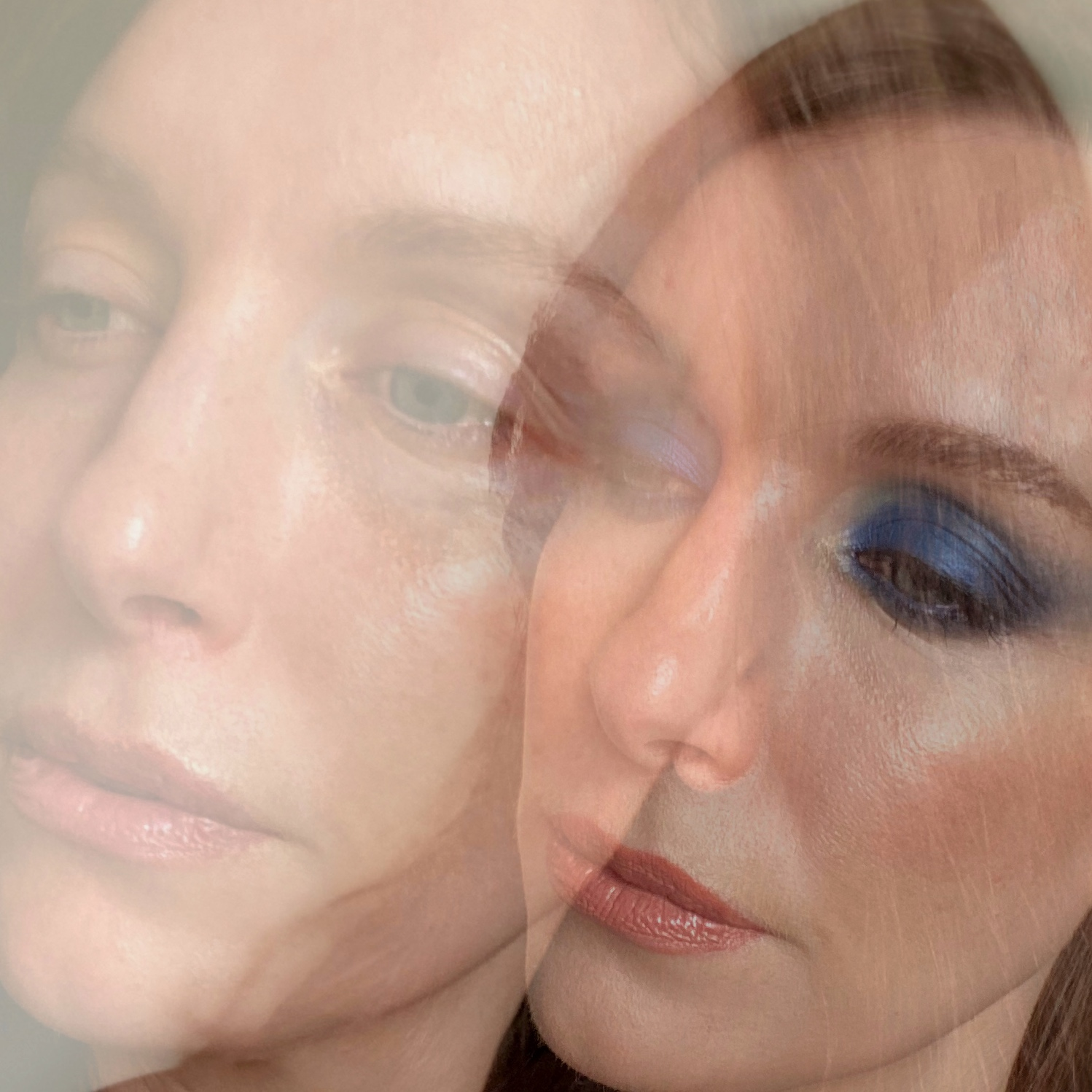 Two images of Amy superimposed over one another. In one image Amy is wearing bright blue eye makeup. In the other Amy is makeup free.