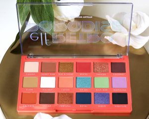 ELF Retro Paradise Eyeshadow Palette sits with the palette lid open to show the shades