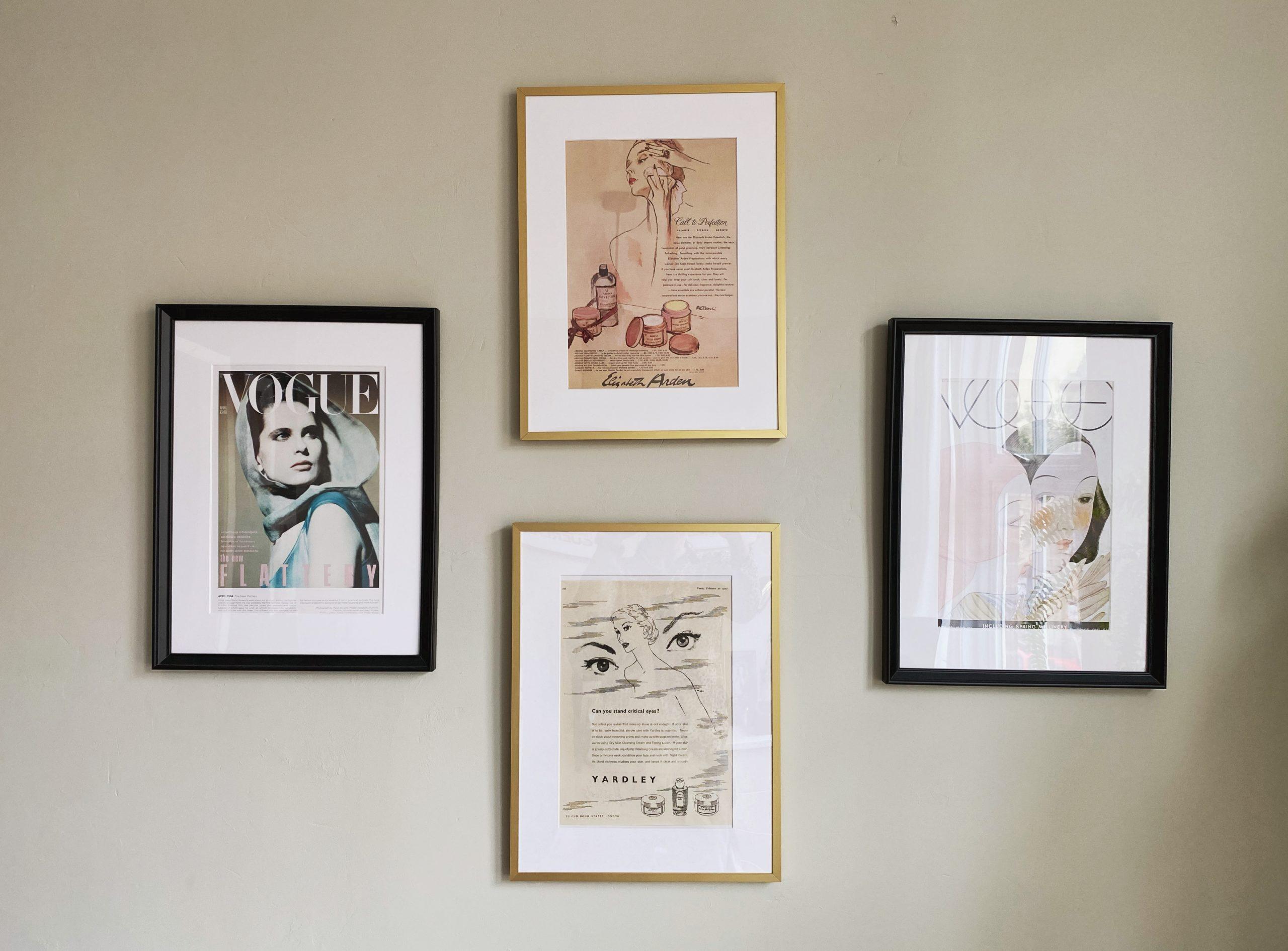 vintage vogue prints and vintage makeup adverts