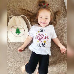 xmas t-shirt kids 'so elfin cute'