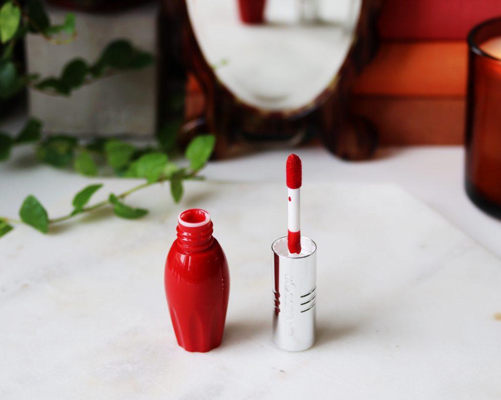L'occitane Pressed Fruity Lipsticks shade 004 Pomelove a bright red lipstick