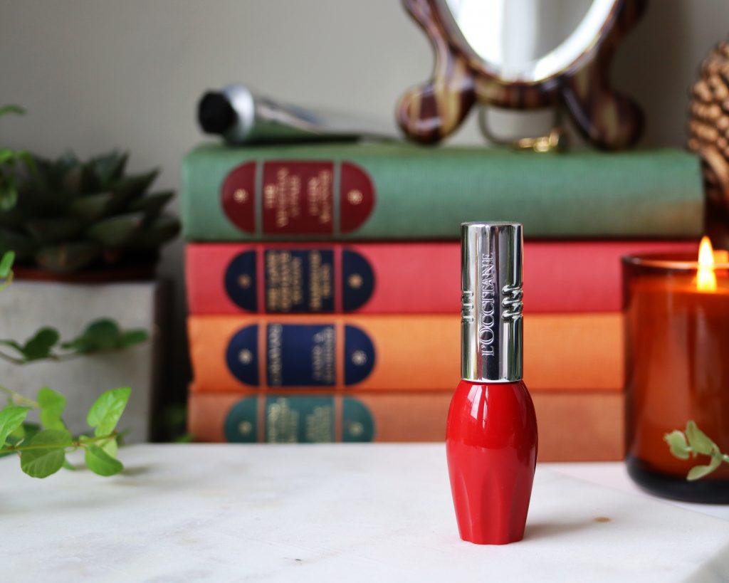 L'occitane Pressed Fruity Lipsticks shade 004 Pomelove a bright red