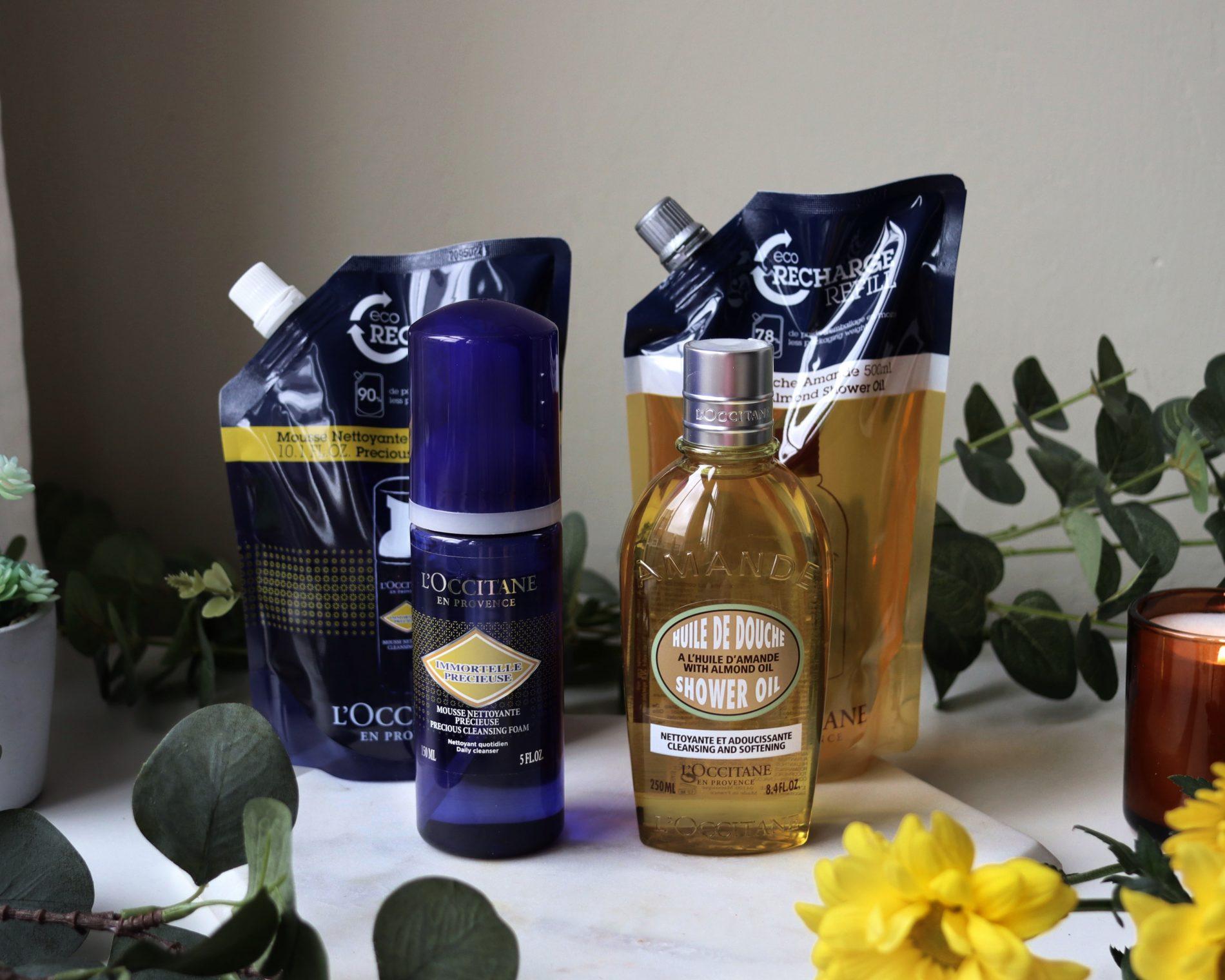 L'occitane Almond Shower Oil Eco Refill andPrecious Cleansing Foam eco refills